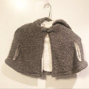 Carters Poncho Hood Gray White Soft Size 2T